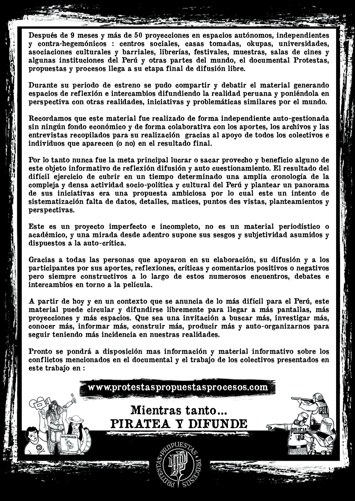 """Documentaire """"Protestas, Propuestas y Procesos"""" en ligne"""