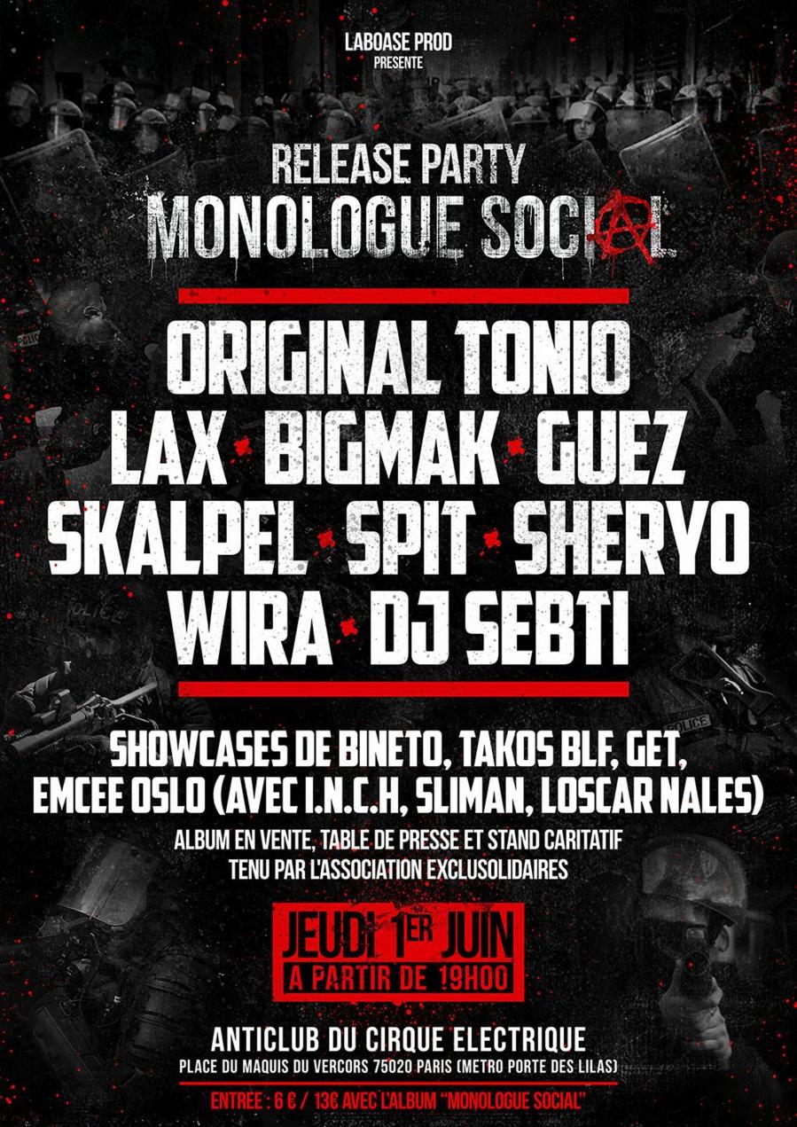 Release party monologue social original tonio guests - Le cirque electrique porte des lilas ...
