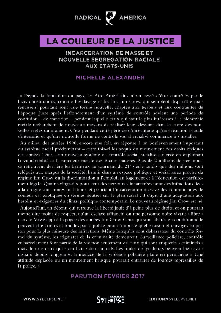 Parution en février 2017 du livre de Michelle Alexander 'La couleur de la justice - Incarcération de masse et nouvelle ségrégation raciale aux Etats-unis'