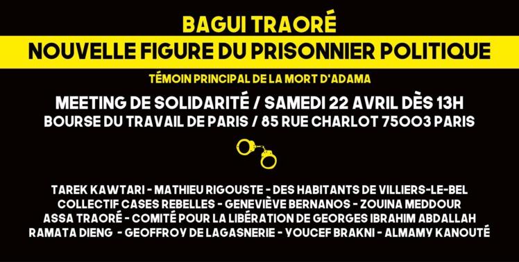 """Meeting """"Bagui Traoré, nouvelle figure du prisonnier politique"""" le 22 avril 2017 à Paris"""