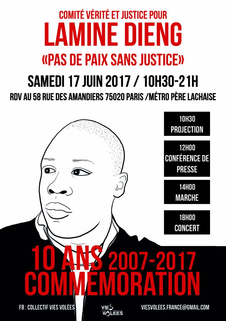 """Commémoration """"Lamine Dieng - 10 ans"""" le 17 juin 2017 à Paris"""