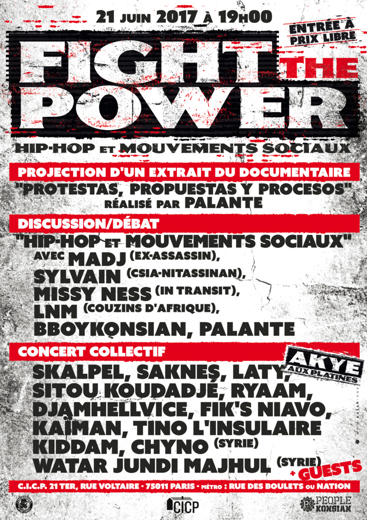 """Fight the power - Hip-Hop et mouvements sociaux"" le 21 juin 2017 à Paris"