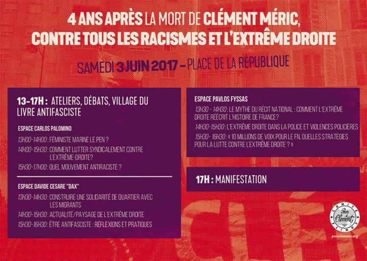 Week end de mobilisation les 3 et 4 juin 2017, 4 ans après la mort de Clément Méric
