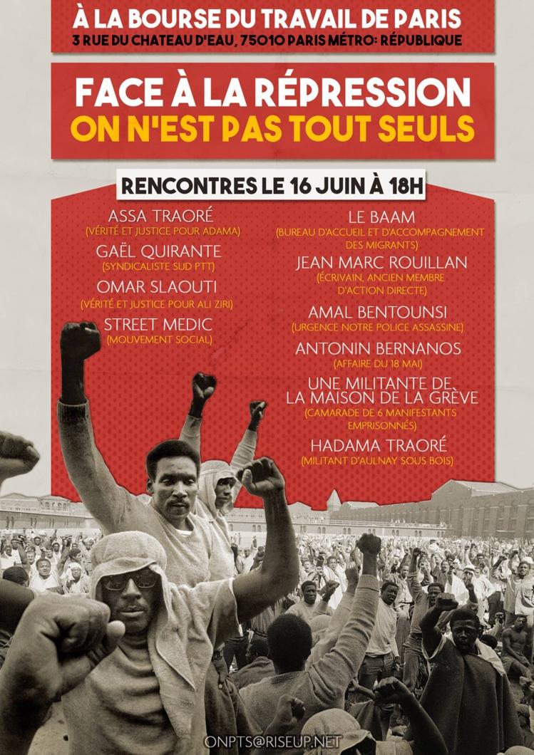"""Meeting """"Face à la répression : On n'est pas tout seul !"""" le 16 juin 2017 à Paris"""