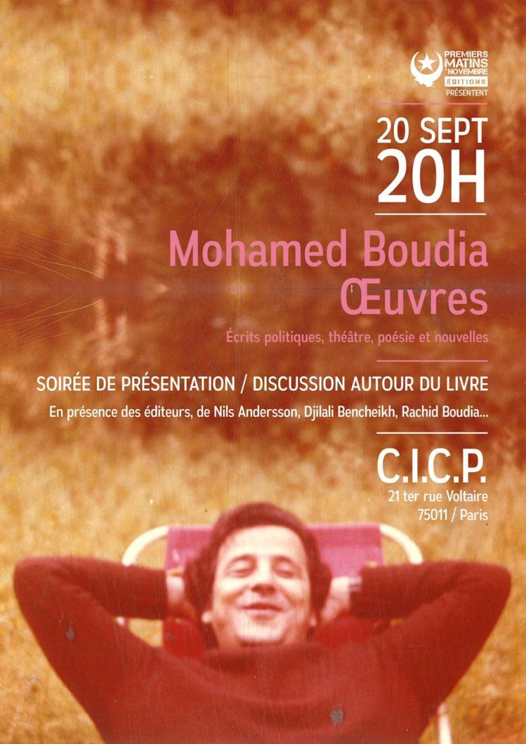 """Soirée de présentation du livre """"Mohamed Boudia - Oeuvres"""" le 20 septembre 2017 à Paris"""