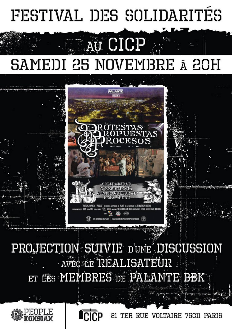 "Projection du documentaire ""Protestas, propuestas y procesos"" à Paris le 25 novembre 2017"