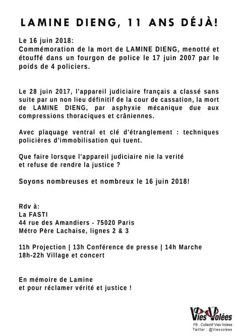 """Commémoration """"Lamine Dieng : 11 ans déjà !"""" le 16 juin 2018 à Paris"""