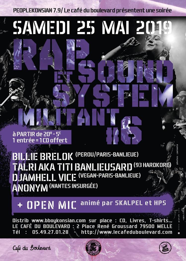 """Soirée """"Rap & Sound System militant #6"""" le 25 mai 2019 à Melle (79)"""