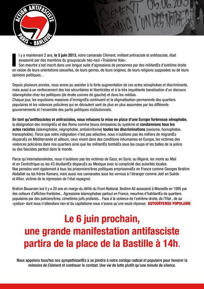 Manifestation antifasciste à Paris le samedi 06 juin 2015