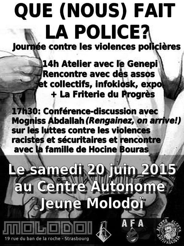 Que (nous) fait la police ? Journée contre les violences policières à Strasbourg le 20 juin 2015