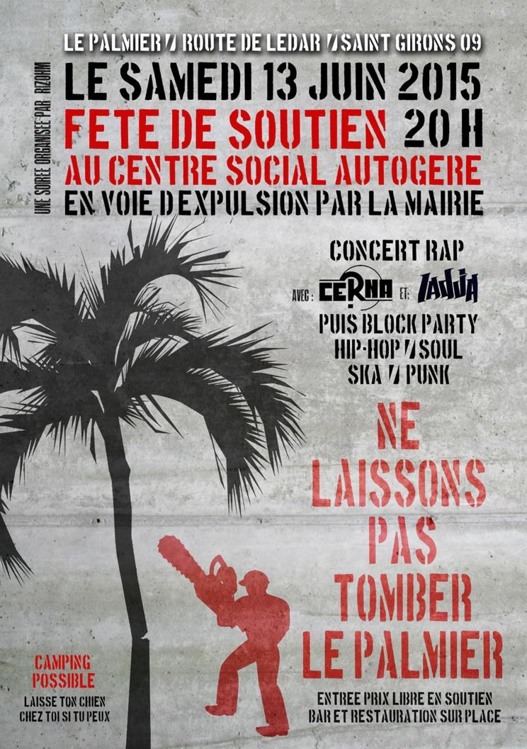 Fête de soutien au centre social autogéré le Palmier le 13 juin 2015