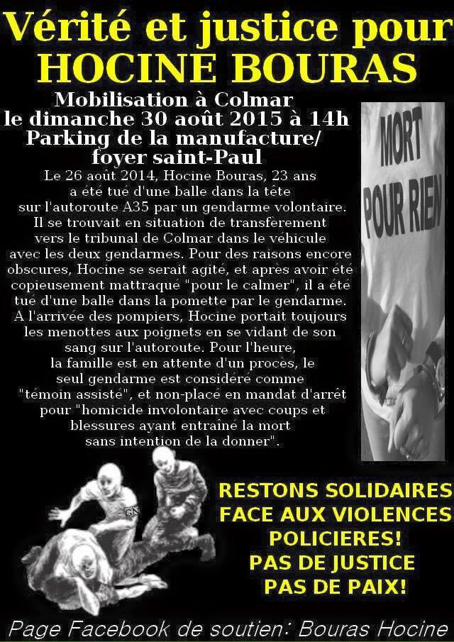 Vérité et justice pour Hocine Bouras, mobilisation le 30 août 2015 à Colmar