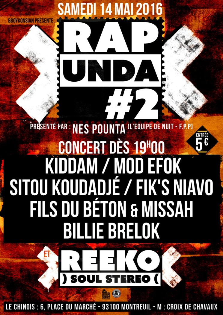 BBoyKonsian présente la soirée 'Rap Unda #2' le 14 mai 2016 à Montreuil