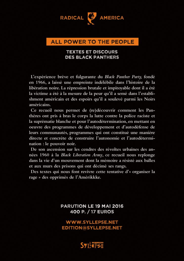 Sortie du livre 'All power to the people - Textes et discours des Black Panthers' le 19 mai 2016