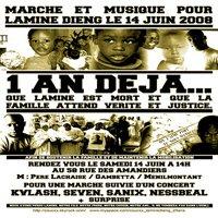 Marche et musique pour Lamine Dieng le 14 juin 2008