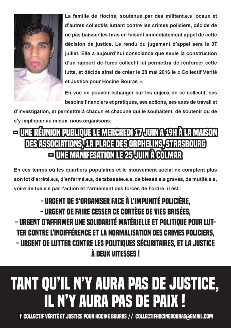 Communiqué de presse du Collectif Vérité et Justice pour Hocine Bouras