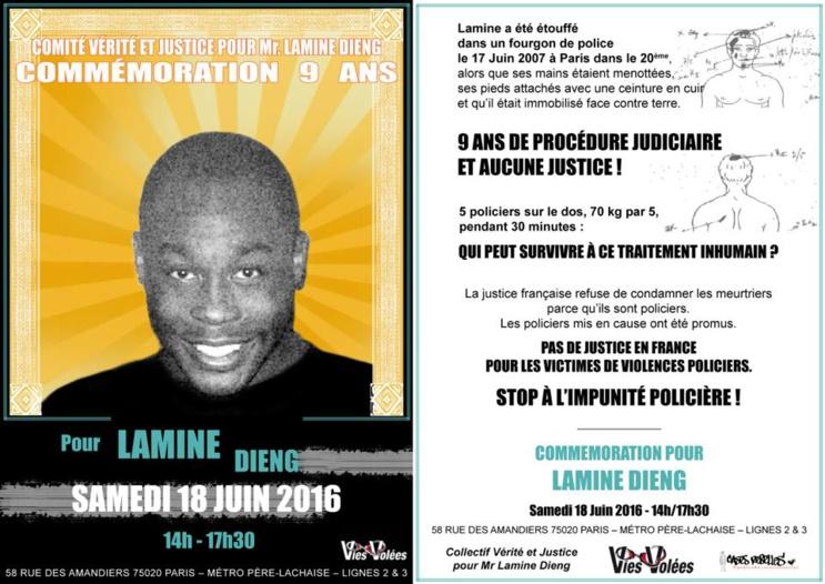 Commémoration pour Lamine Dieng le 18 juin 2016 à Paris