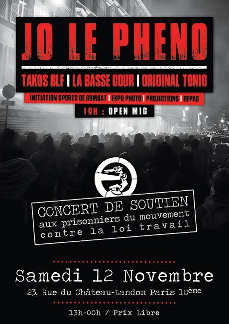 Concert pour les prisonniers du mouvement contre la loi travail le 12 novembre 2016 à Paris