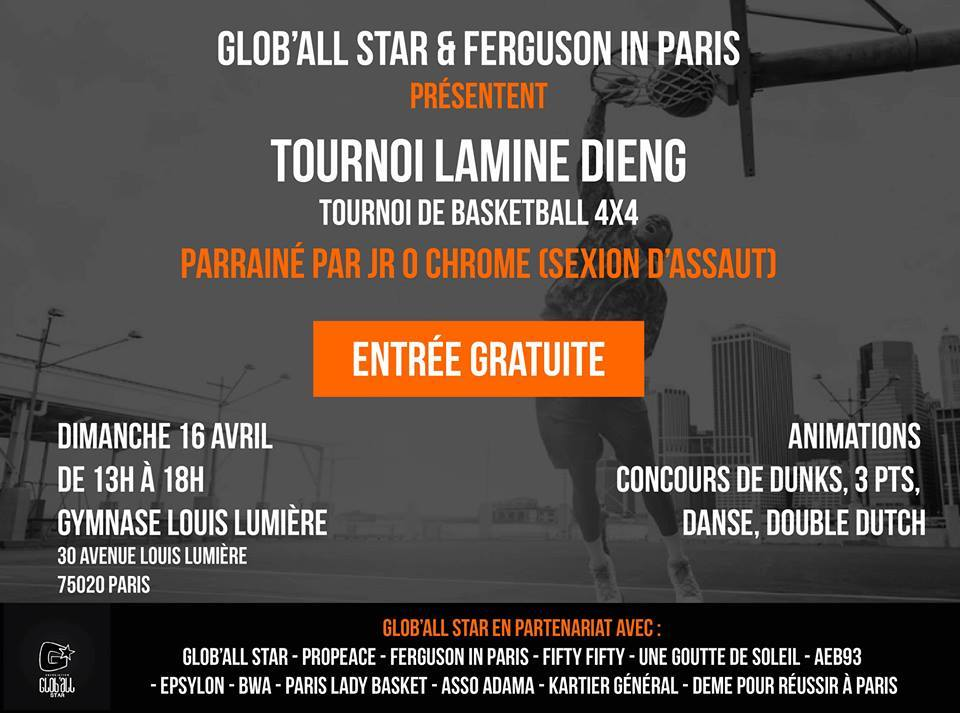 "Tournoi de basket ""Lamine Dieng"" le 16 avril 2017 à Paris"