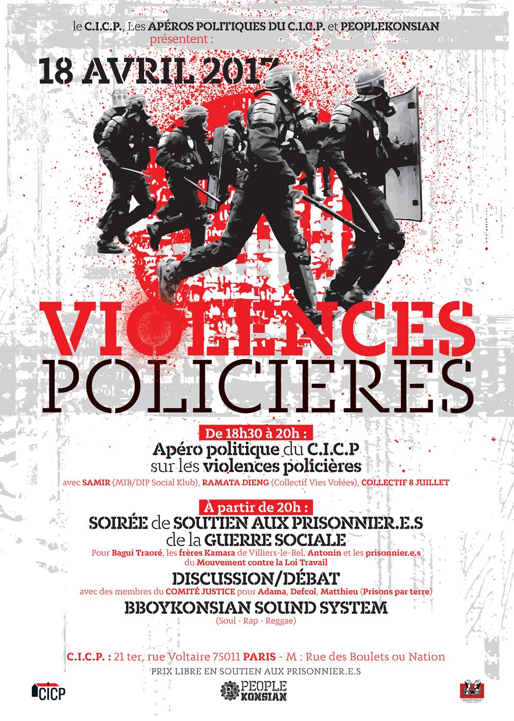 Soirée de soutien aux prisonnier.e.s de la guerre sociale à Paris le 18 avril 2017