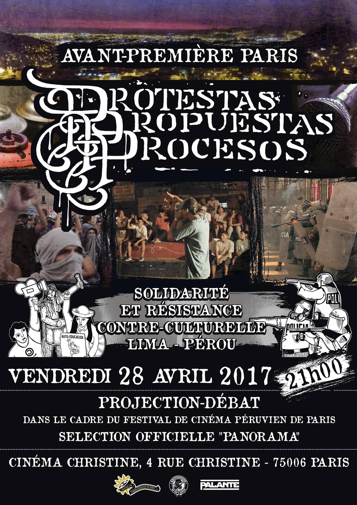 """Avant-première du documentaire """"Protestas, propuestas y procesos"""" le 28 avril 2017 à Paris"""