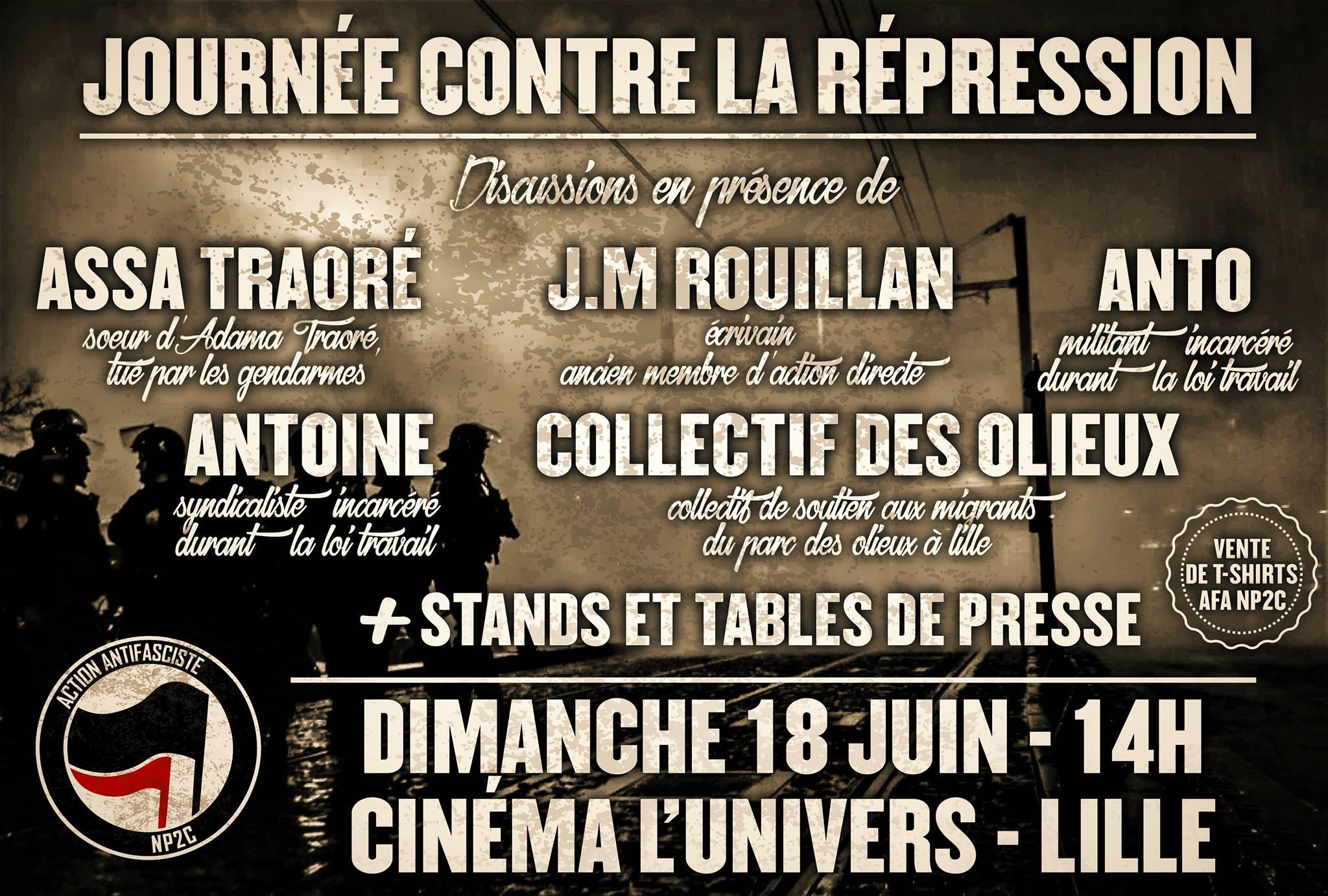 """""""Journée contre la répression"""" le 18 juin 2017 à Lille"""