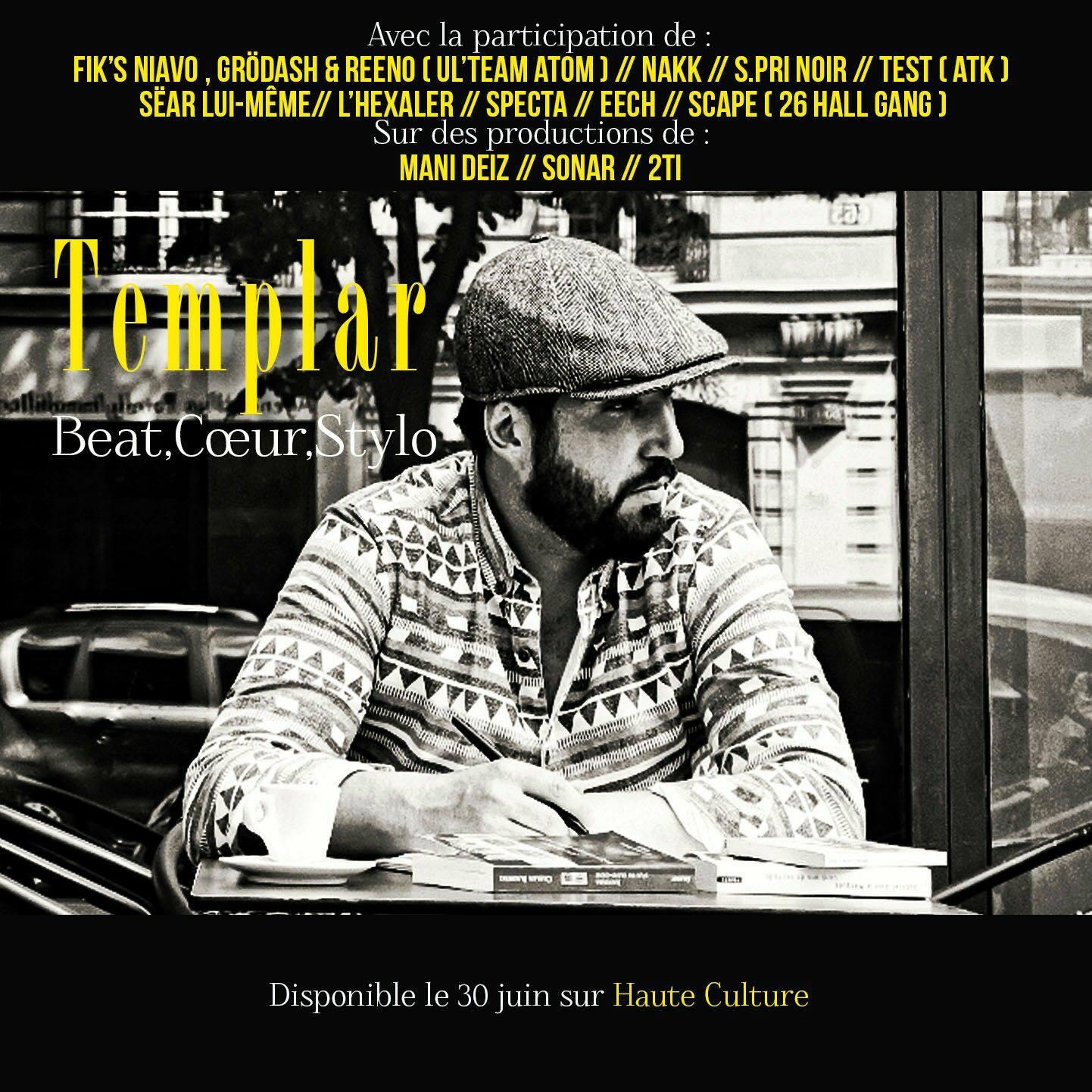 """Mixtape de Templar """"Beat, cœur, stylo"""" disponible en libre téléchargement"""