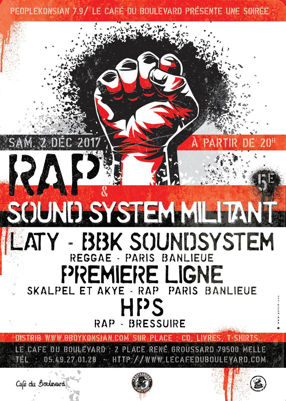 Soirée Rap & Sound System militant le 02 décembre 2017 à Melle (79)