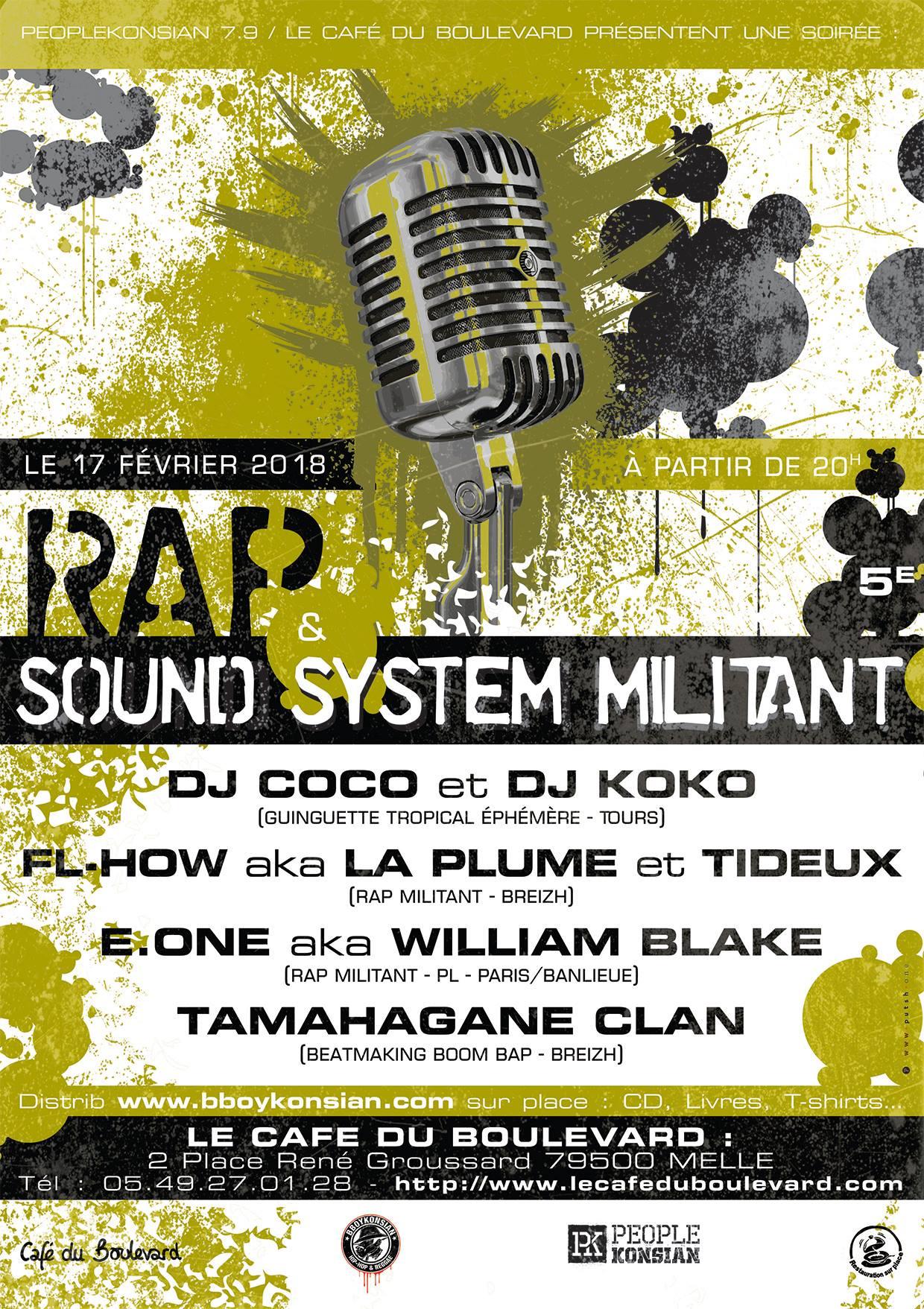 """Soirée """"Rap & Sound System militant #2"""" le 17 février 2018 à Melle (79)"""