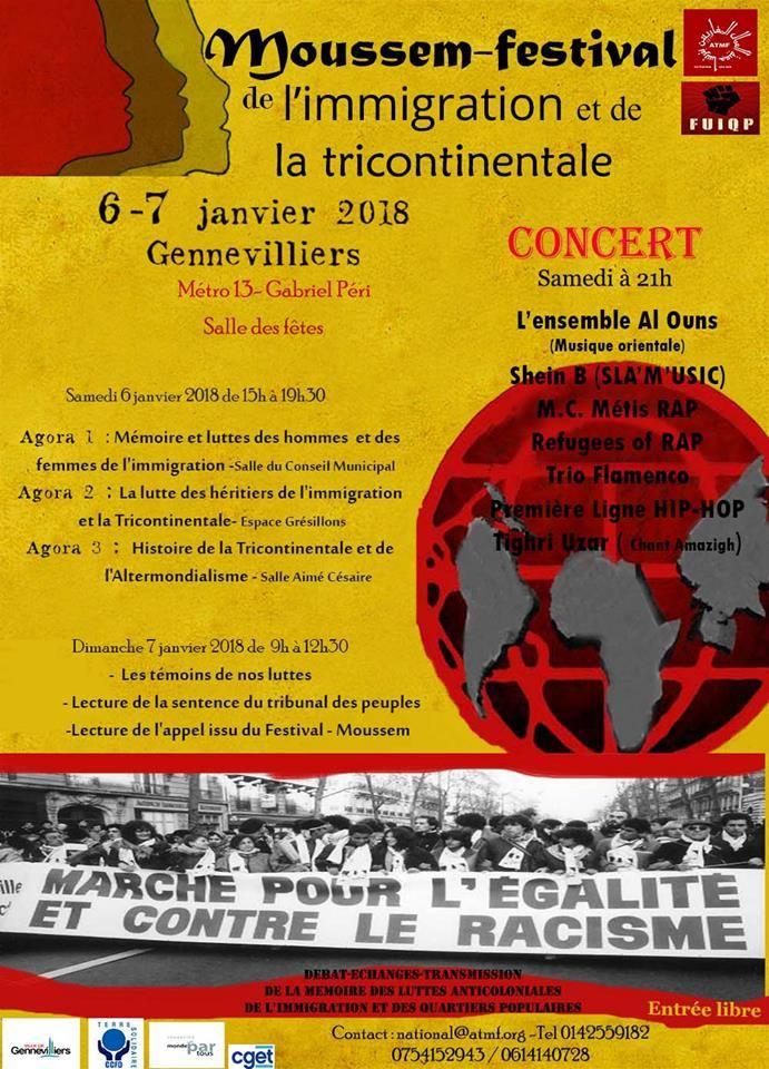 Moussem-Festival de l'immigration et de la tricontinentale les 06 et 07 janvier 2018 à Gennevilliers