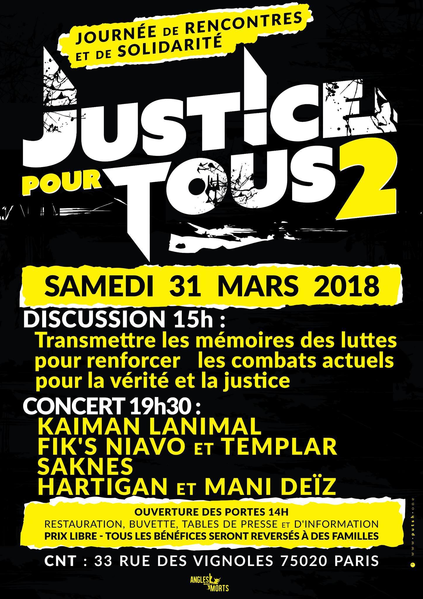 """""""Justice pour tous 2 : Journée de rencontres et de solidarité"""" le 31 mars 2018 à Paris"""