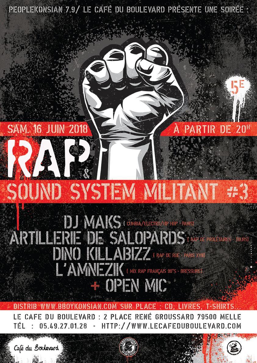 """Soirée """"Rap & Sound System militant #3"""" le 16 juin 2018 à Melle (79)"""