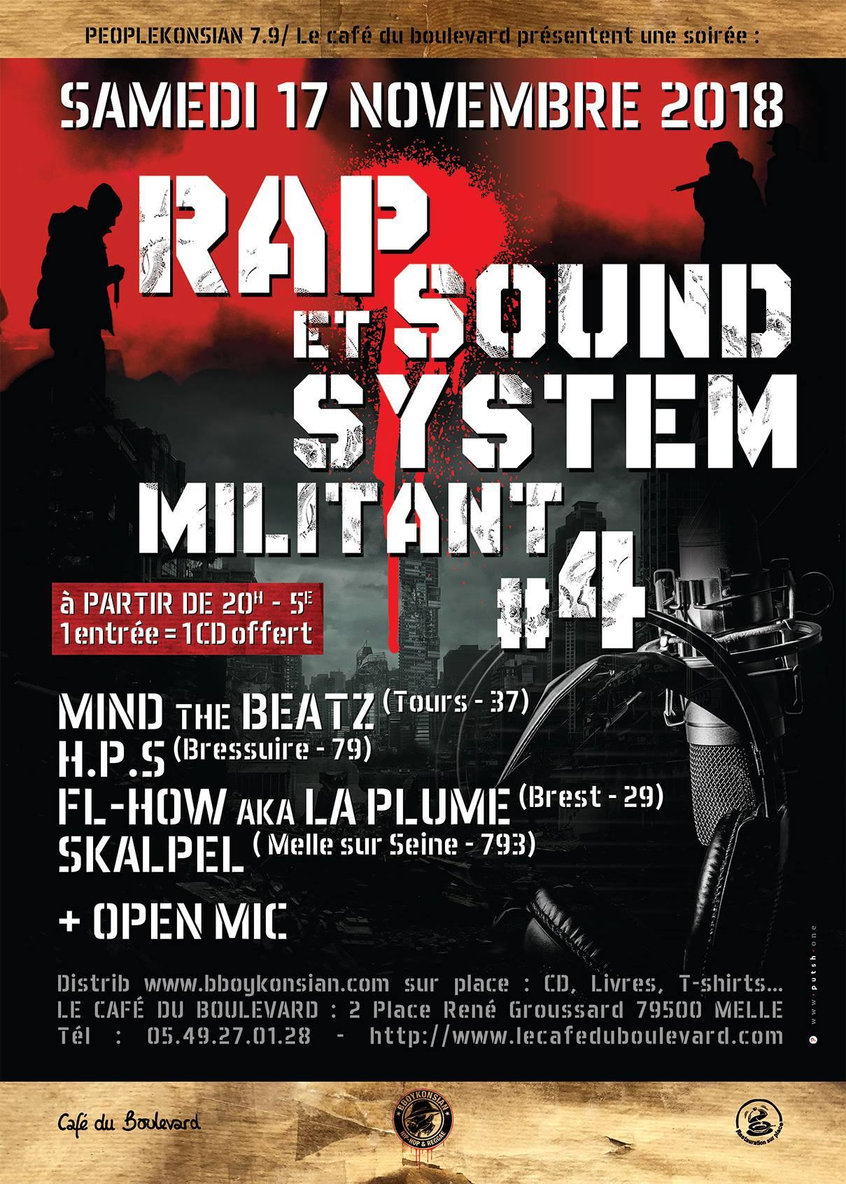 """Soirée """"Rap & Sound System militant #4"""" le 17 novembre 2018 à Melle (79)"""