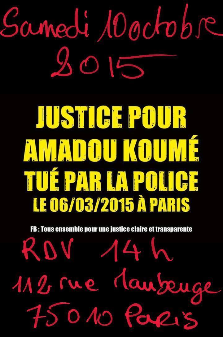 Marche pour Amadou Koumé le 10 octobre à Paris