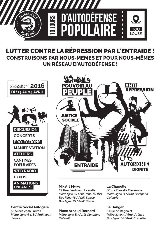 10 jours d'autodéfense populaire du 15 au 24 avril 2016 à Toulouse