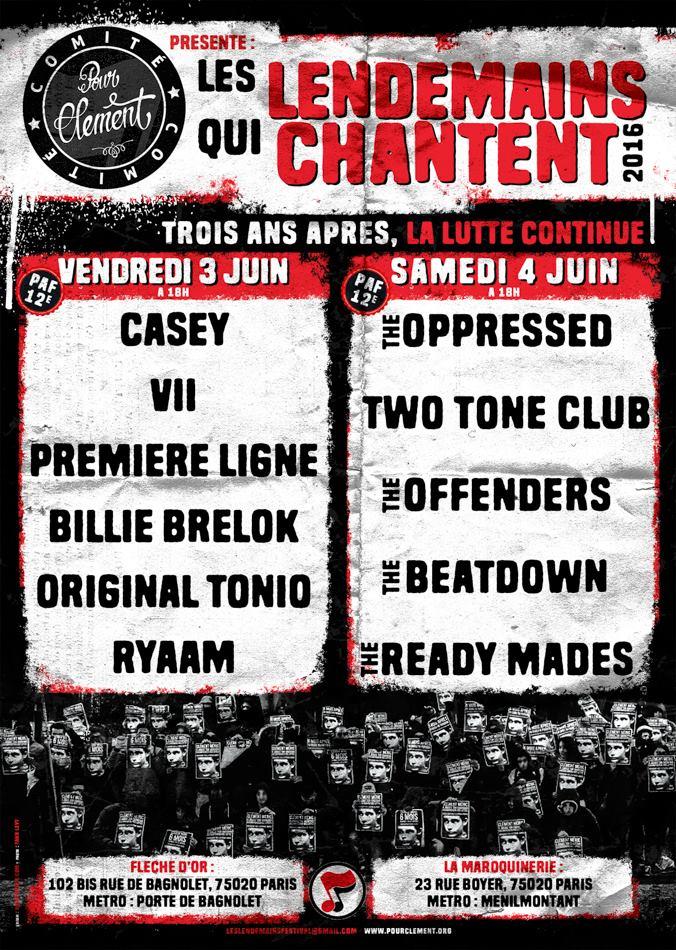 Le Comité pour Clément présente 'Les lendemains qui chantent 2016' à Paris les 3 et 4 juin