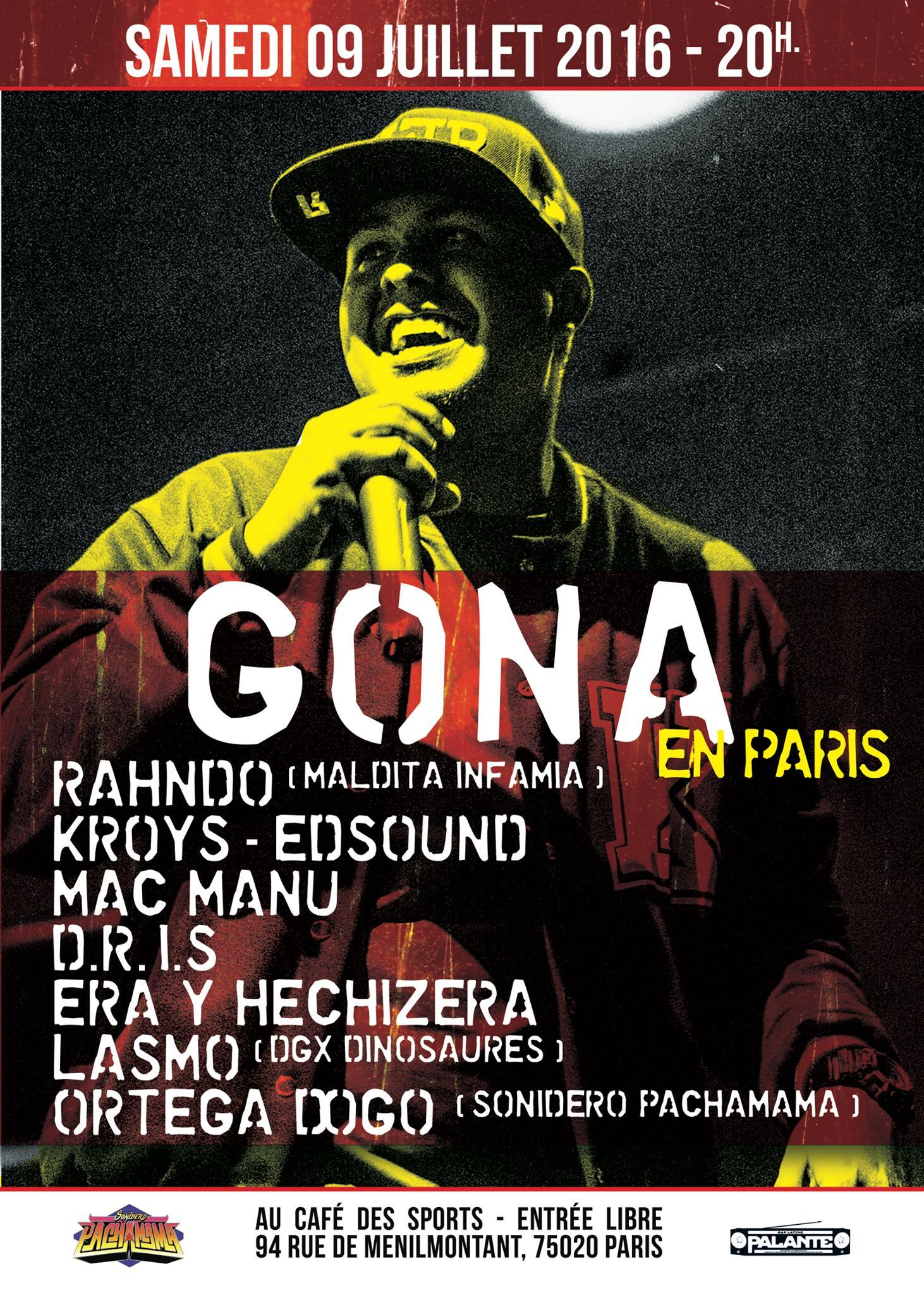 Soirée 'Gona en Paris' le samedi 09 juillet 2016 à Paris