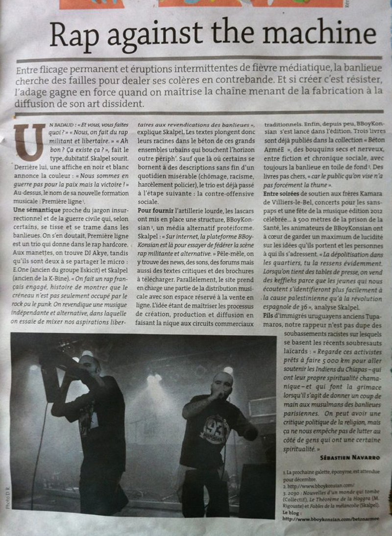 Rap against the machine - CQFD N°103 (Septembre 2012)
