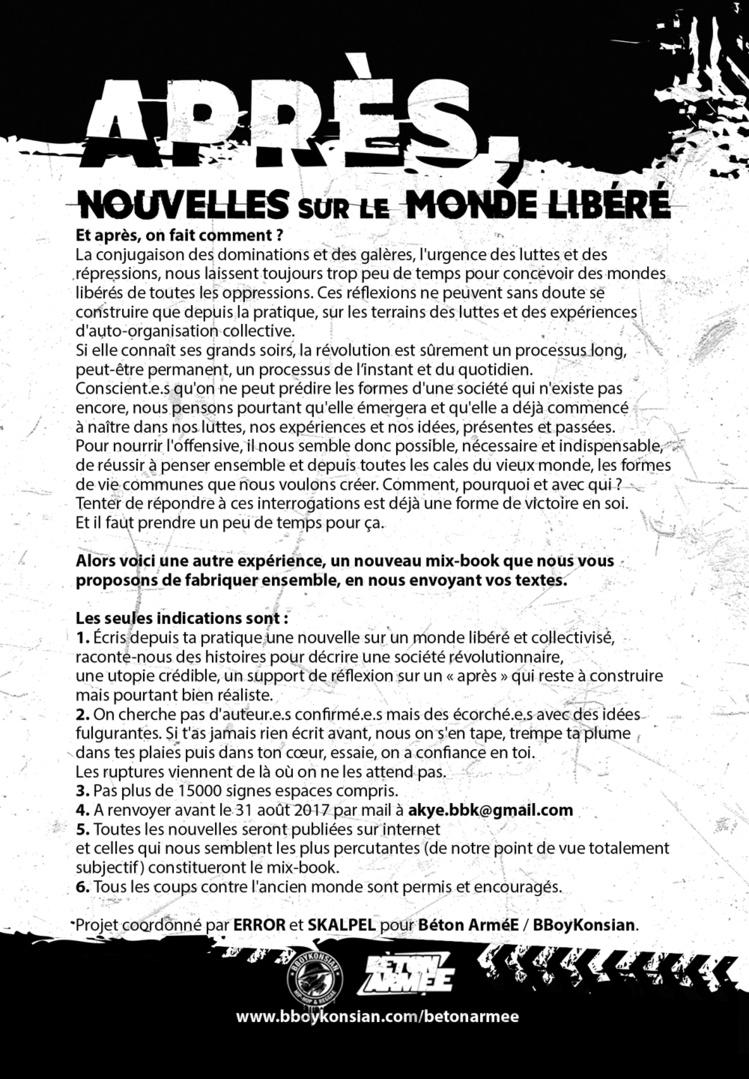 """Appel pour un prochain Mix-book """"Après, nouvelles sur le monde libéré"""" : Envoyez vos nouvelles avant le 31 août 2017"""