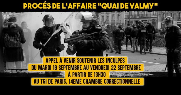 """Procès de l'affaire """"Quai de Valmy"""" du 19 au 22 septembre 2017"""