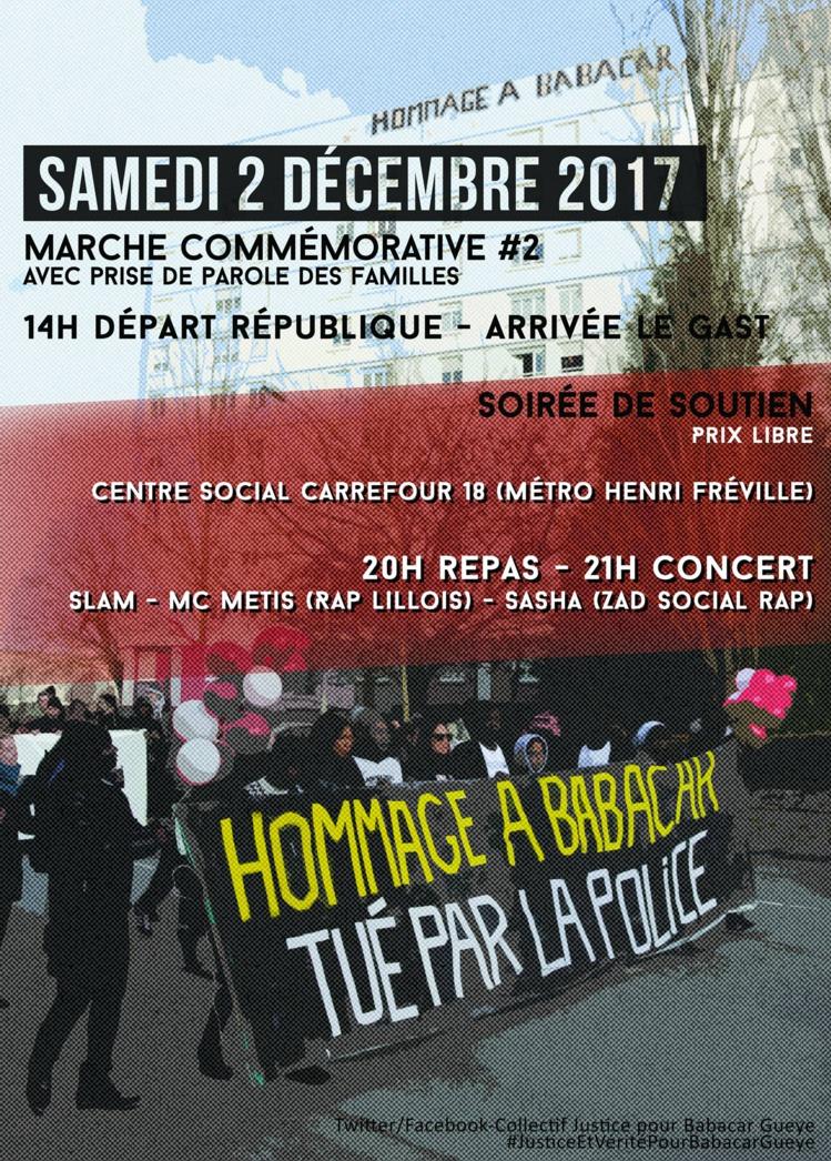 Marche et soirée en hommage à Babacar Gueye le 02 décembre 2017 à Rennes