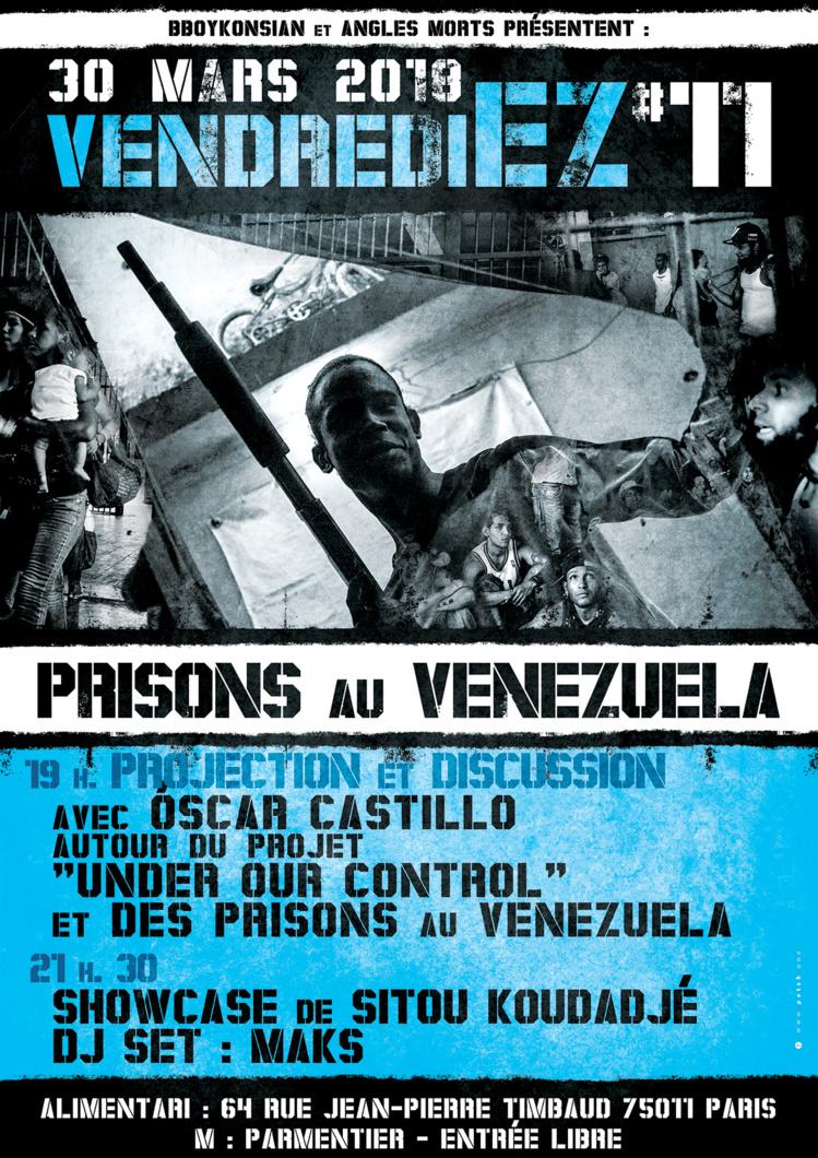 """""""VendrediEZ #11 : Prisons au Venezuela"""" le 30 mars 2018 à Paris"""