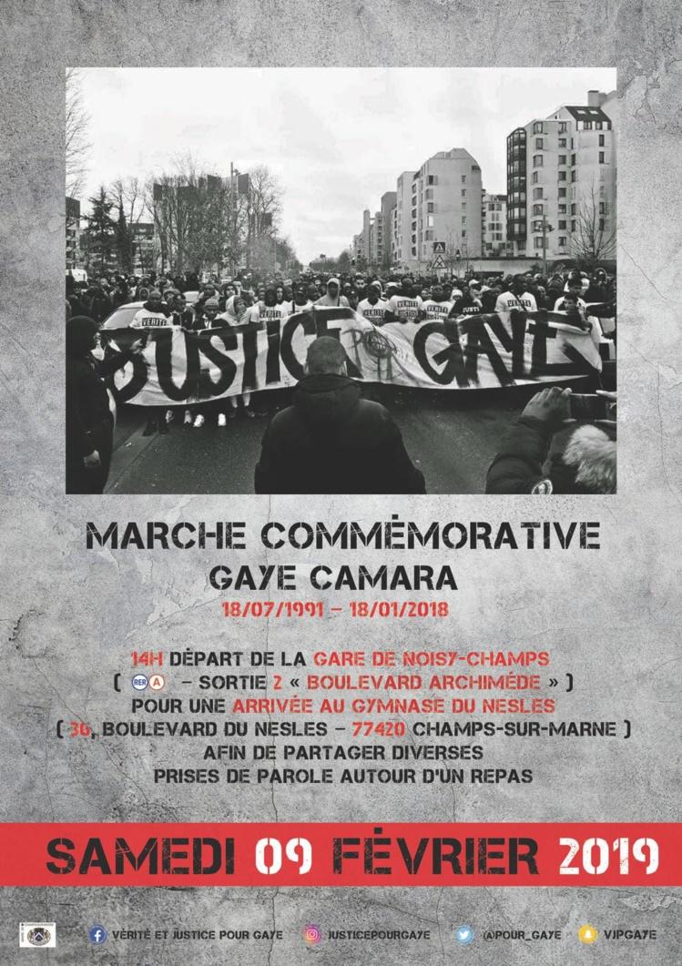 Marche commémorative pour Gaye Camara le 09 février 2019 à Champs-sur-Marne