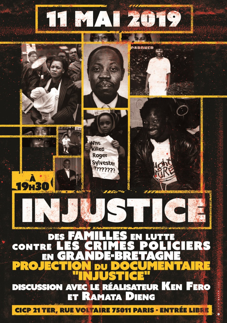 "Projection du documentaire ""Injustice"" le 11 mai 2019 à Paris"