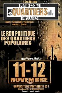 Programme du Forum Social des Quartiers Populaires à Saint-Denis les 11 et 12 novembre
