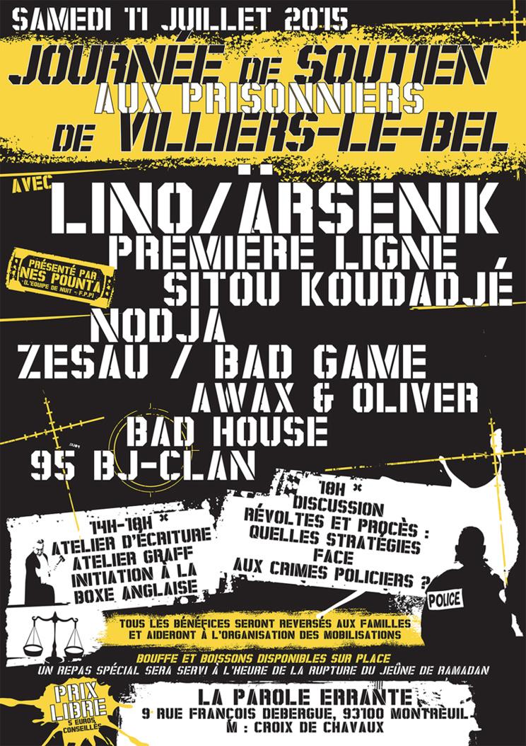 Journée de soutien aux prisonniers de Villiers-le-Bel le 11 juillet 2015 à Montreuil