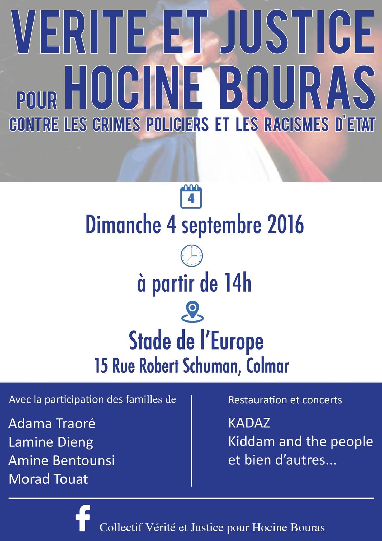 Vérité et justice pour Hocine Bouras : Rencontre publique le 04 septembre 2016 à Colmar