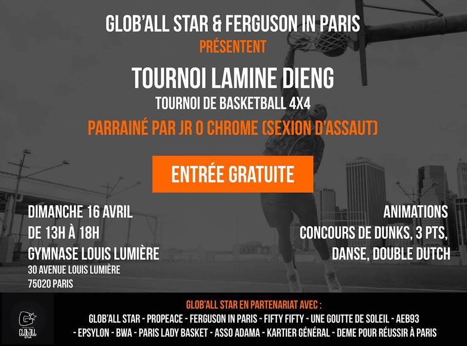"""Tournoi de basket """"Lamine Dieng"""" le 16 avril 2017 à Paris"""