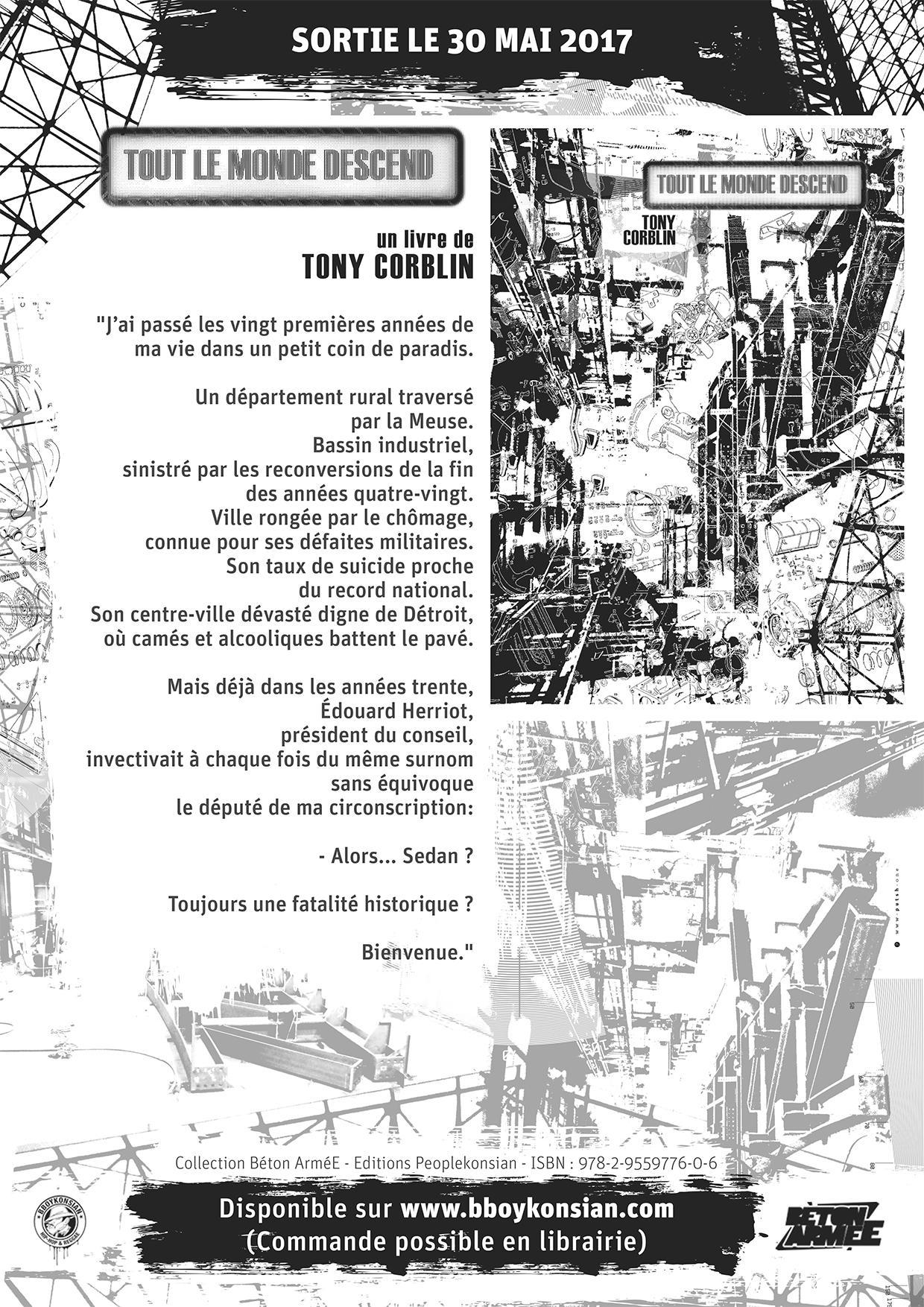 """Sortie du livre """"Tout le monde descend"""" de Tony Corblin le 30 mai 2017"""