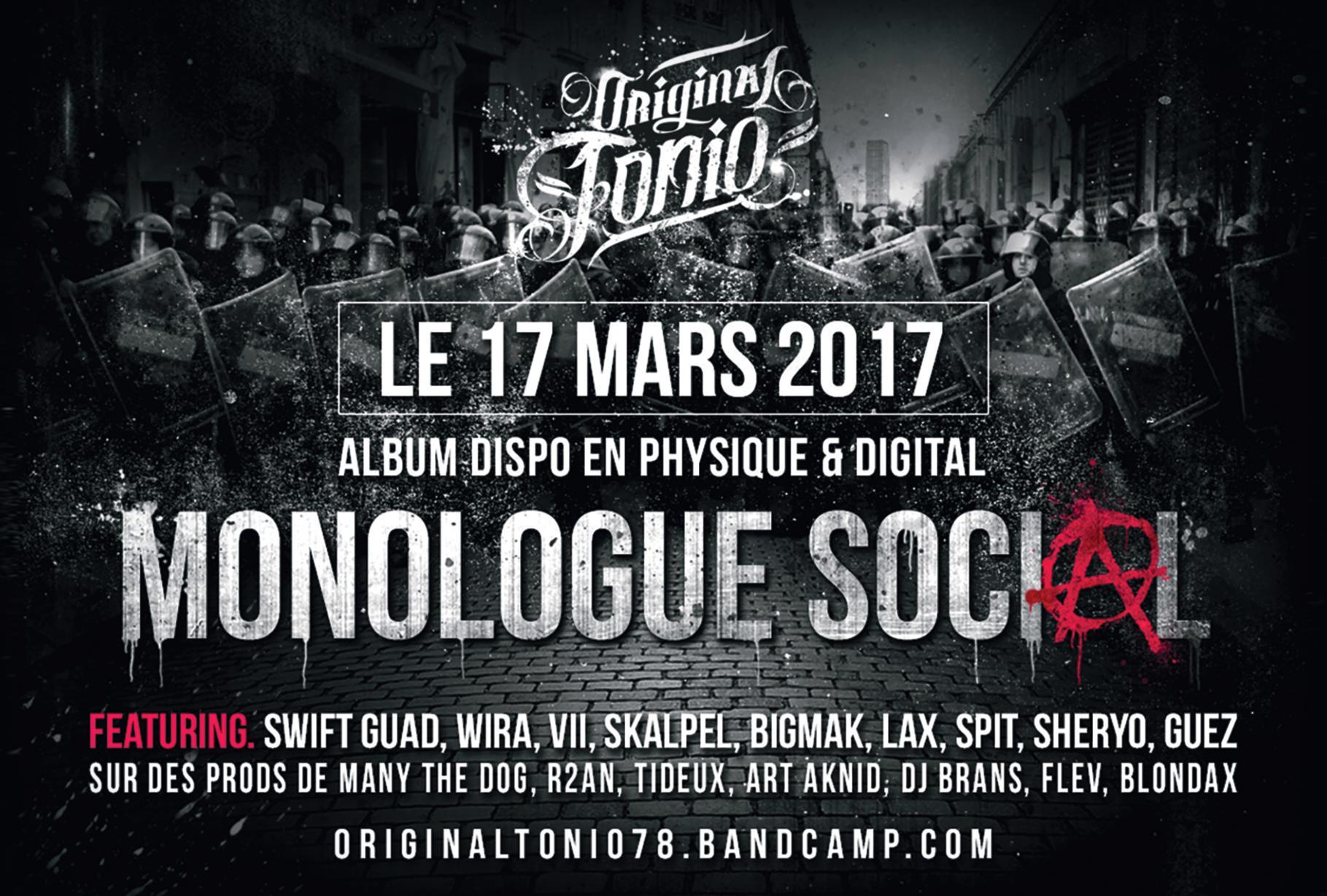 "Premier album d'Original Tonio ""Monologue social"" disponible en CD & Digital"